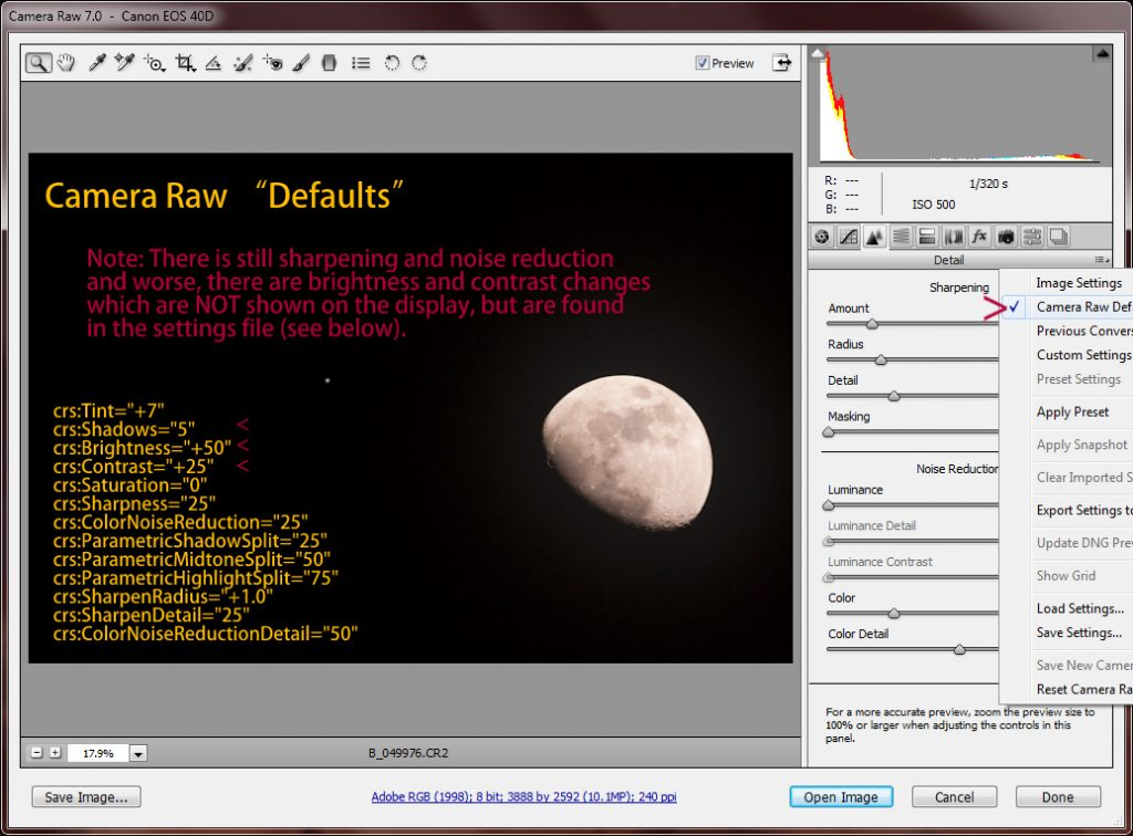 "Camera RAW ""Defaults"""