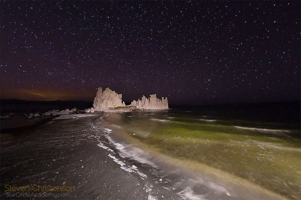 The shoreline of Mono Lake with a large Tufa formation and stars of the North Western skies.