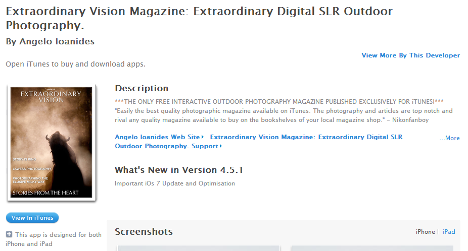 Extraordinay Vision Magazine published on iTunes