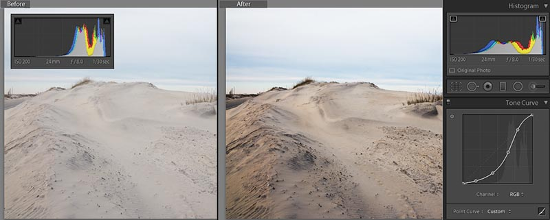 Before and After Tone Curve Adjustment