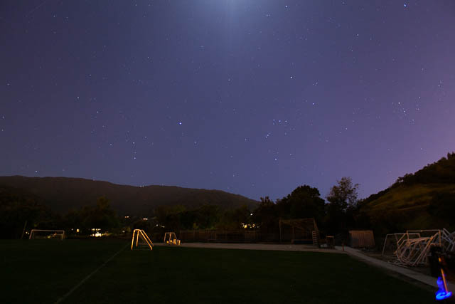 This view is southwest. From left to right are Canis Major, Orion and Taurus. The moon is off the top edge.